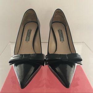 Prada point toe bow pumps black leather